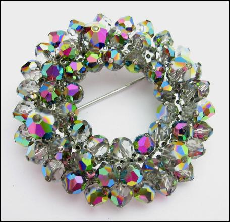 ****SOLD**** DARK AURORA BOREALIS Crystal Beads BROOCH Vintage PIN
