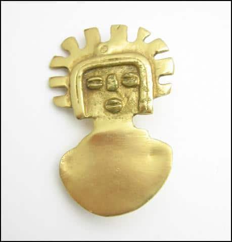 ALVA MUSEUM REPLICA Figural Brooch Vintage PIN Goldtone