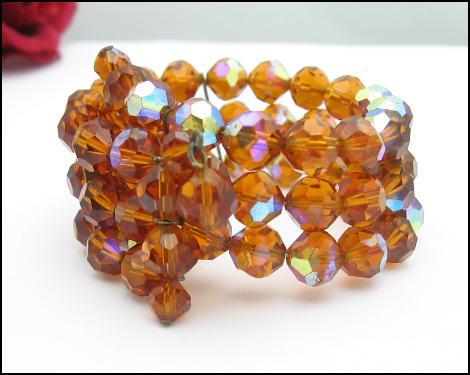 AMBER AURORA BOREALIS Crystal Bead Wrap Bracelet Vintage