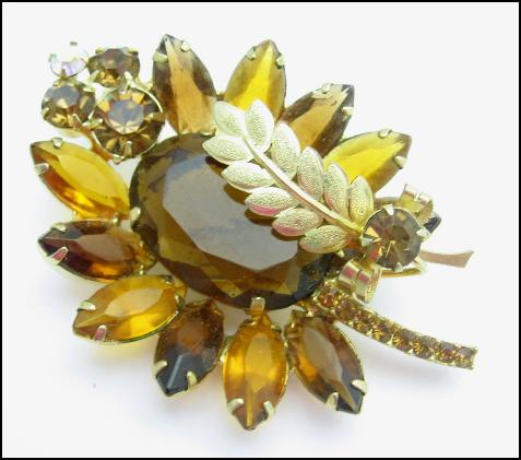 Multi Browns RHINESTONE LEAF BROOCH Vintage PIN Goldtone, BIG and BEAUTIFUL!            ***SOLD***