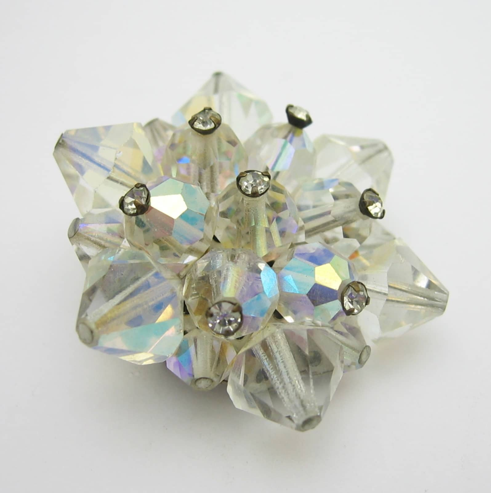 Brooch Beads: SOLD***** Aurora Borealis CRYSTAL BEAD STAR BROOCH With