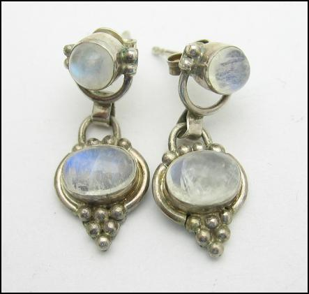 SOLD SOLD  SAJEN MOONSTONE PIERCED EARRINGS Vintage  STERLING SILVER SOLD SOLD
