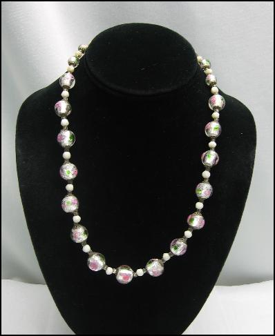 **** SOLD ****PINK ROSES Wedding Cake FOIL BEAD Vintage NECKLACE