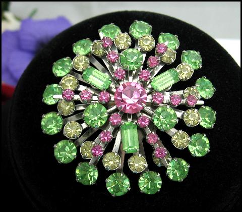 PINK and GREEN RHINESTONE SNOWFLAKE BROOCH Vintage, Silvertone PIN