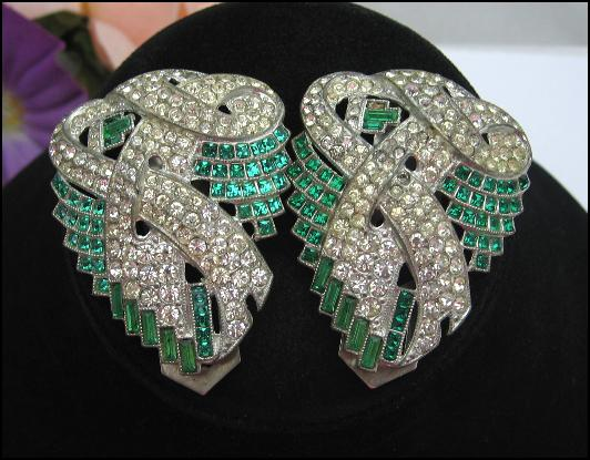 Rhinestone DRESS CLIPS Pair, Set GREEN and CLEAR Stones, Baguettes, Silvertone