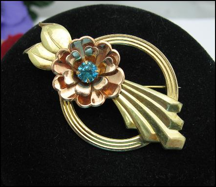 HARRY ISKIN Flower Brooch Rose and Yellow 12K GOLD FILLED Vintage PIN