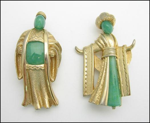 MARVELLA JADE ORIENTAL COUPLE Vintage BROOCH SET *** SOLD ***