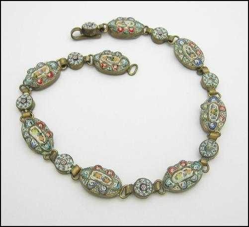 *** SOLD *** Italian MICRO MOSAIC TILE BRACELET Anklet Vintage Goldtone Made in Italy, Flowers, Ovals