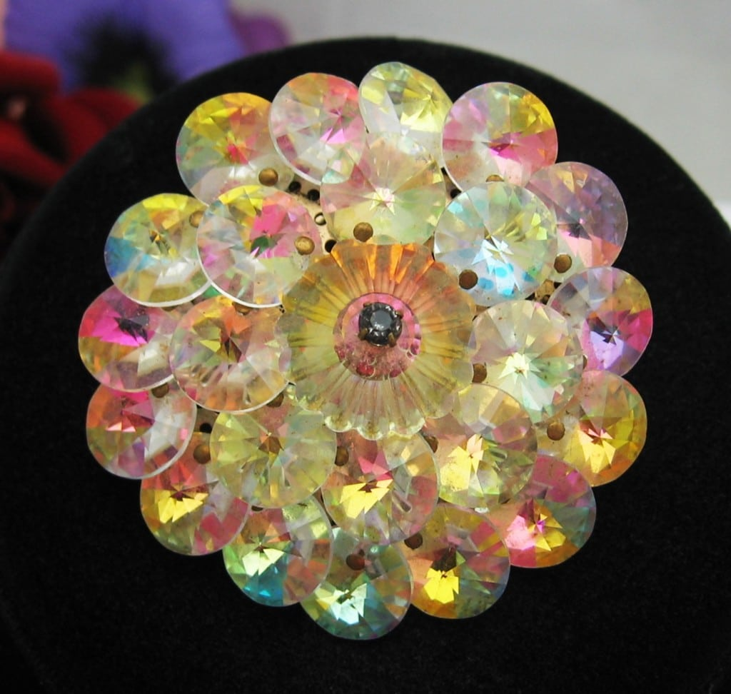AURORA BOREALIS RIVOLI Crystal BEAD BROOCH Rainbow Colors **SOLD**