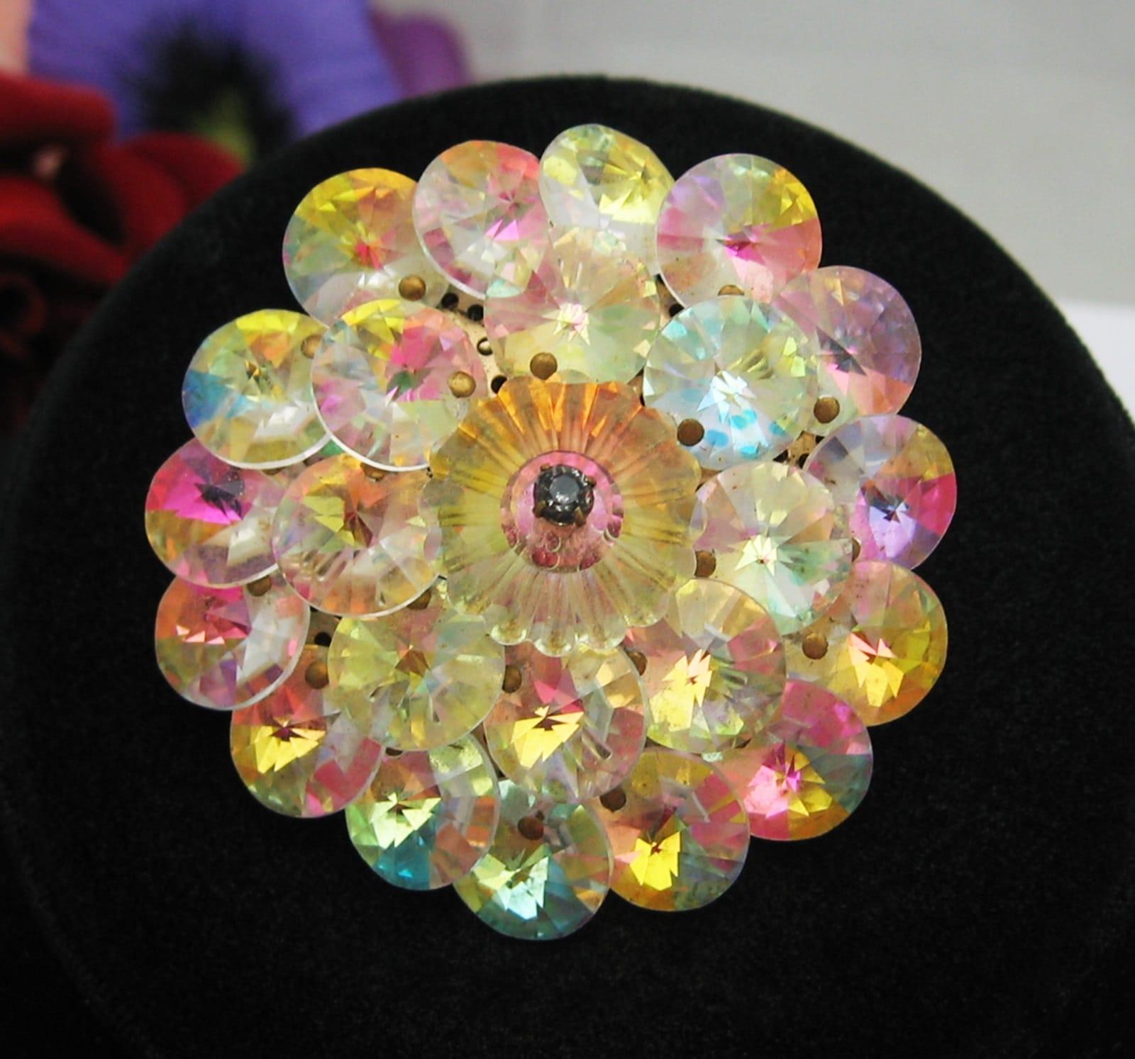 Brooch Beads: AURORA BOREALIS RIVOLI Crystal BEAD BROOCH Rainbow Colors