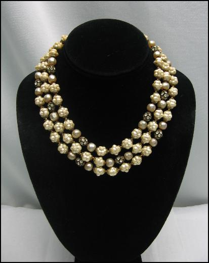 **** SOLD **** ORIGINAL by ROBERT Triple Strand GLASS BEAD and RHINESTONE NECKLACE