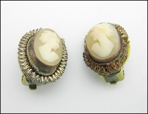 Carved SHELL CAMEO Vintage EARRINGS 800 Silver CLIP ON STYLE