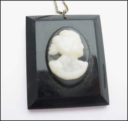 Rectangular Black CAMEO PENDANT Vintage Necklace Retro Twist!