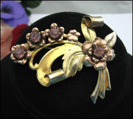 STERLING SILVER LAVENDER Rhinestone Flower Brooch Vintage PIN, ROSE GOLD VERMEIL
