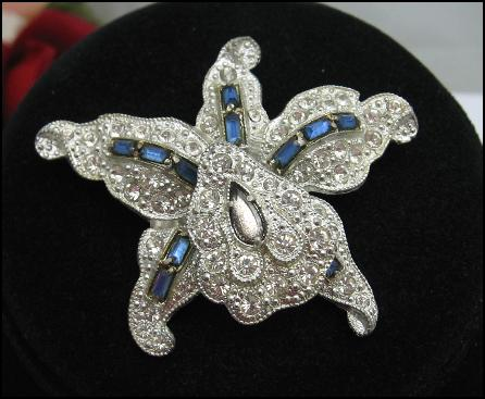 ORCHID FLOWER TREMBLER  Rhinestone BROOCH Vintage PIN  ***SOLD***