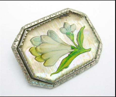 VICTORIAN GLASS FLOWER PIN Vintage BROOCH