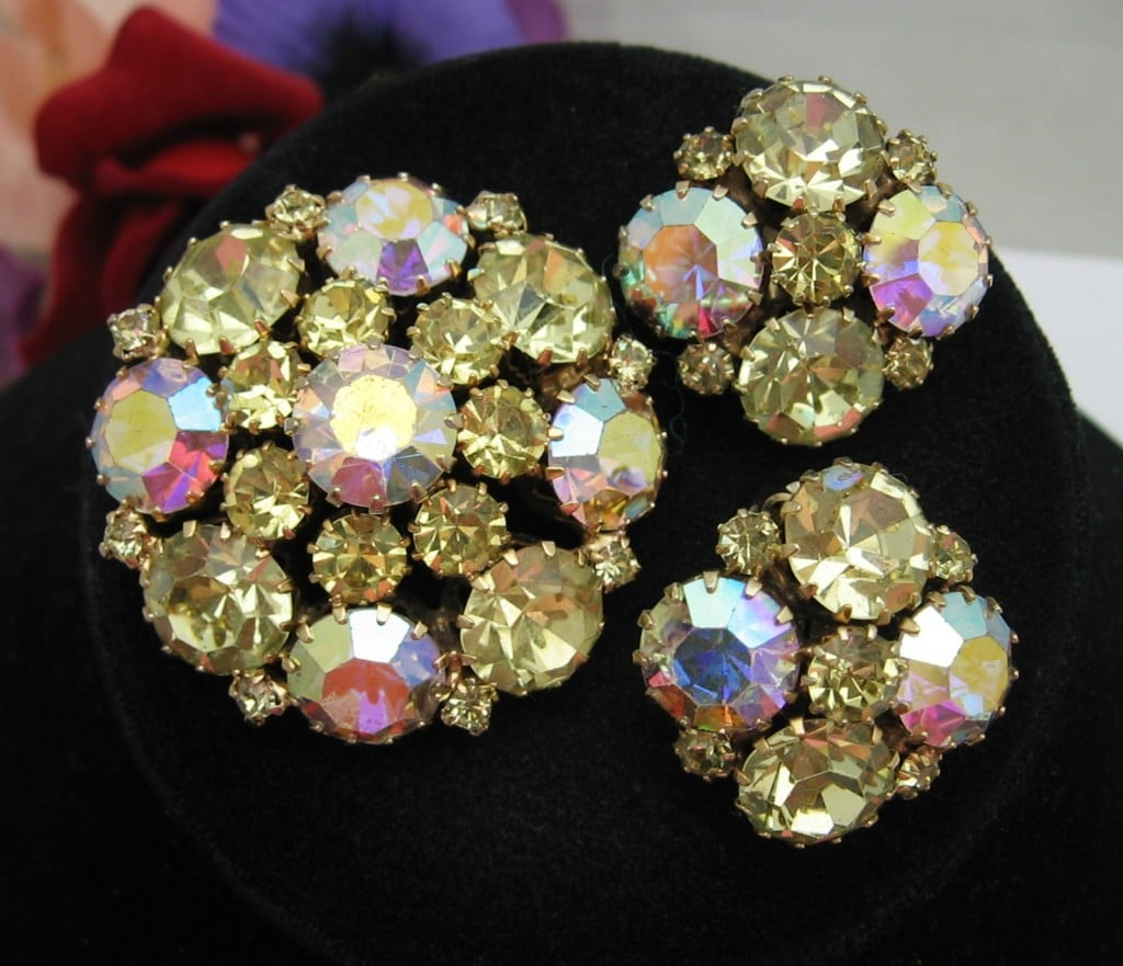 WEISS Citrine, AB RHINESTONE EARRINGS with BROOCH Pin, Goldtone, Clip-Ons